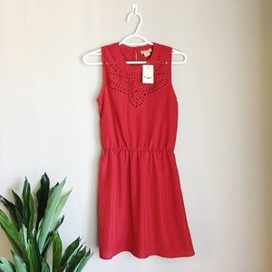 NWT Lucky Brand Red Eyelet Cinch Dress